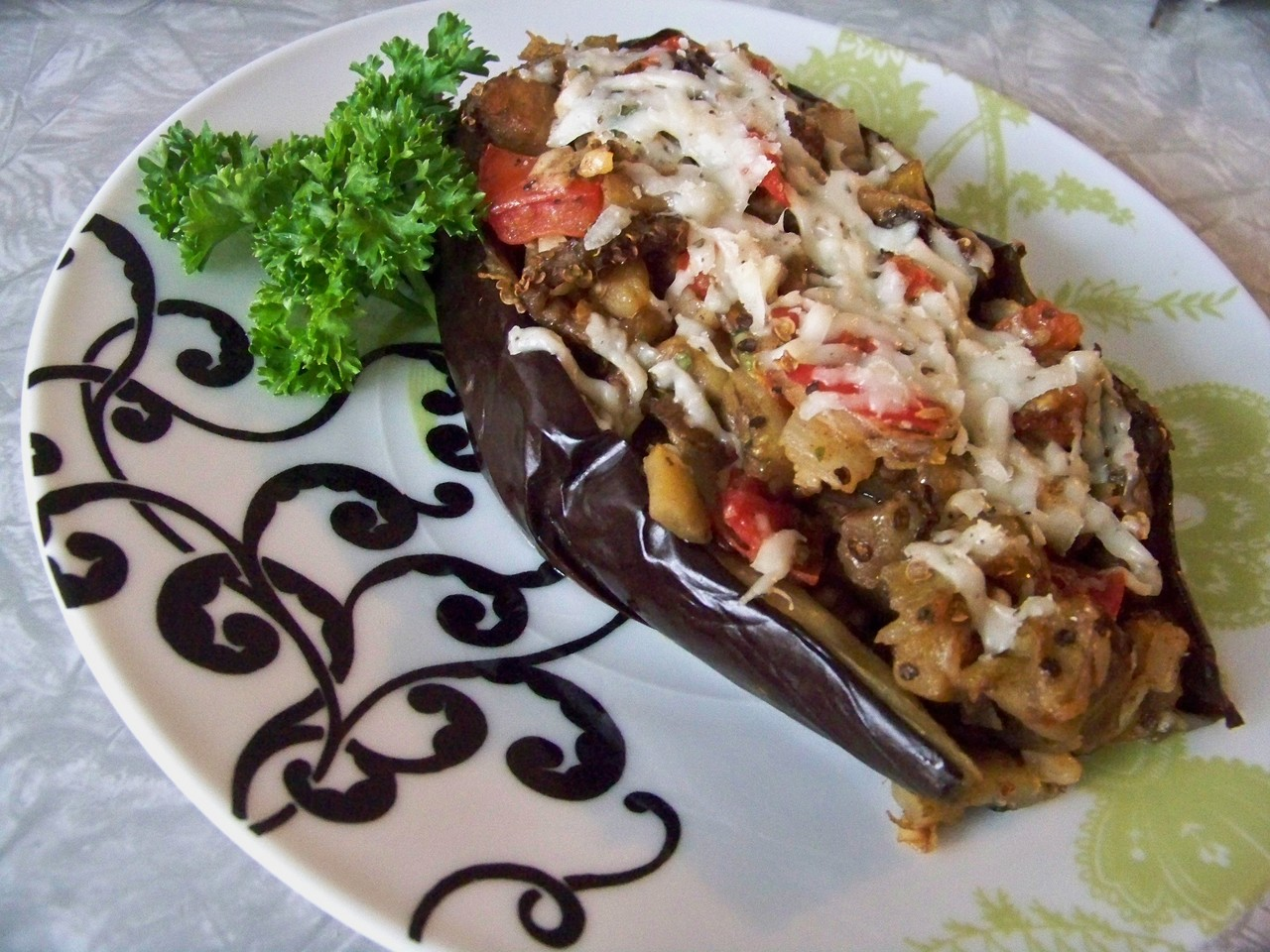 Stuffed Eggplant With Cheese And Tomatoes Recipes